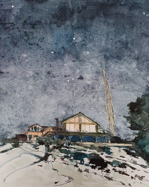 The House in a Winter Night Sky